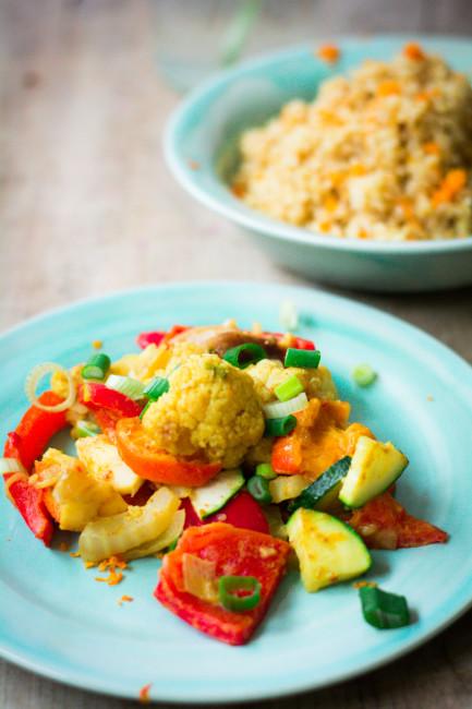 Veganes Gemüsecurry mit Clementinen und Orangenbulgur-1-3